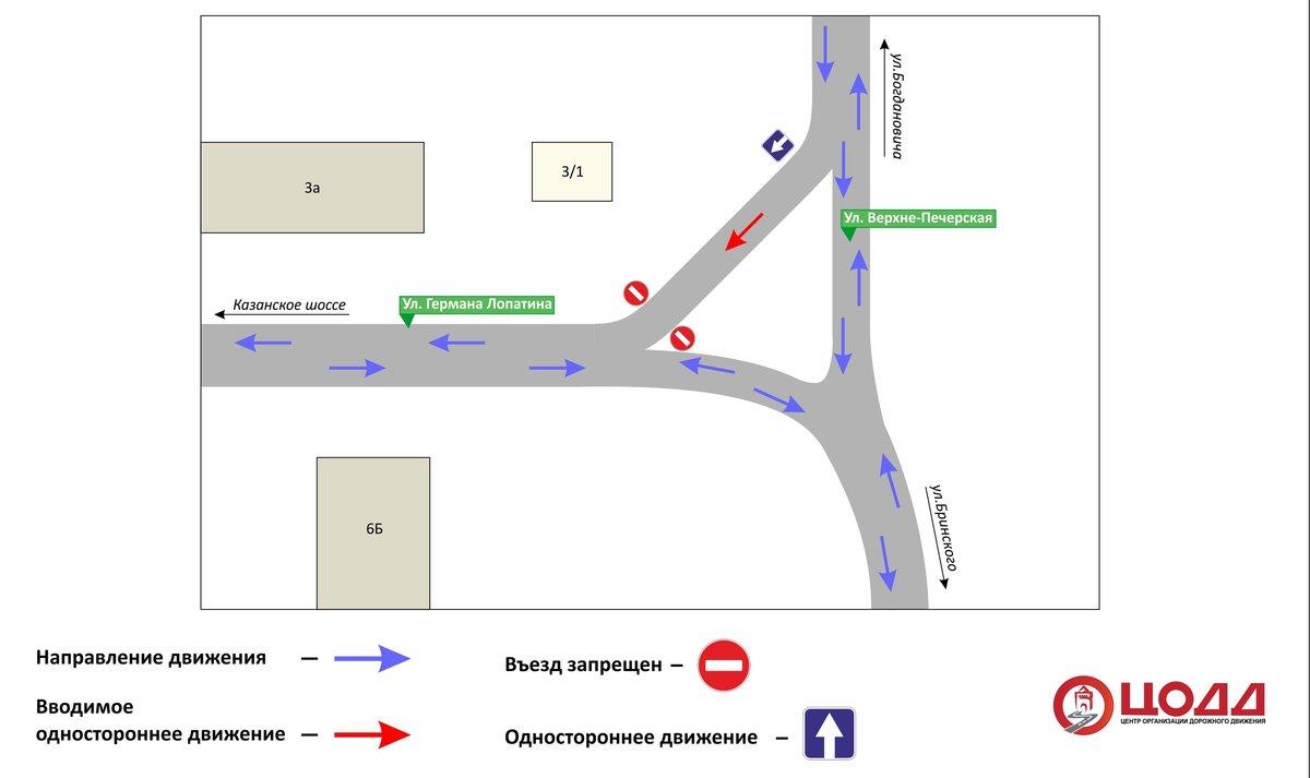 Одностороннее движение транспорта вводится на улице Германа Лопатина - фото 1