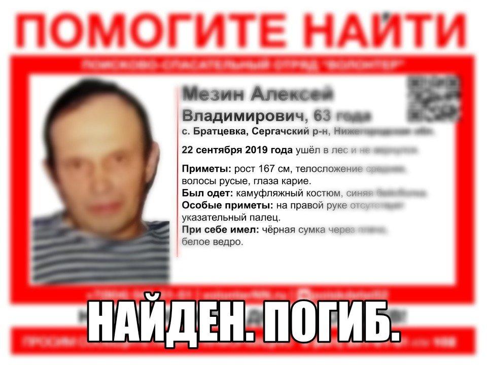 63-летний Алексей Мезин, пропавший вНижегородской области, найден погибшим
